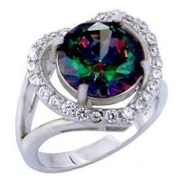 Buy cheap .925 Sterling Silver 9mm Round Rainbow Topaz & CZ Heart Shape Ring from wholesalers