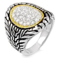 Buy cheap Rings 925 Sterling Silver Cubic Zirconia Two Tone Ring from wholesalers