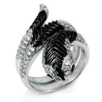 Buy cheap Rings 925 Sterling Silver Black & White CZ Cobra Ring from wholesalers