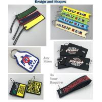 Buy cheap Custom color warning embroidery fabric keychain from wholesalers