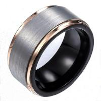 Quality Tungsten Ring Cost 9mm Black and Rose Gold Wedding Band for Men for sale