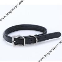 Quality Wholedale Pet Supply Bling Crystal PU Leather Dog Collar for sale