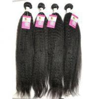 Quality Unprocessed Virgin Peruvian Human Hair Kinky Straight Natural Black Hair Extensions #96545 for sale