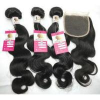 Quality Peruvian Virgin Human Hair Extensions Body wave Hair Weave with Lace Closure #96636 for sale