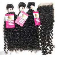 Quality The Best Virgin Peruvian Hair Natural Curly Extensions Human Hair Weave with Closure #96746 for sale