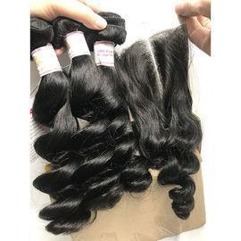 China Best Quality Virgin Hair Extensions Loose Wave Peruvian Hair Human Hair Weave Closure #96881