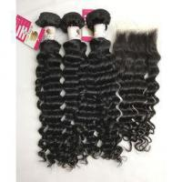 Quality Top Quality Virgin Peruvian Hair Extensions with Human Hair Lace Closure Deep Wave #96680 for sale