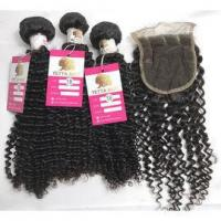 Quality 100% Pure Virgin Peruvian Human Hair Bundles Kinky Curly with Lace Closure Human Hair #96812 for sale