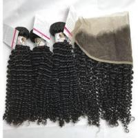 Quality Virgin Peruvian Real Human Hair Extensions with Peruvian Lace Frontal Closure Kinky Curly #97158 for sale