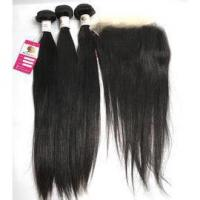 Quality The Best 100 Virgin Human Hair Extensions Silky Straight with Peruvian Lace Frontal Closure #97092 for sale