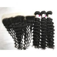 Quality Peruvian Deep Wave Hair Extension with Ear to Ear Lace Frontal 100% Virgin Human Hair for sale