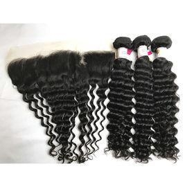 China Peruvian Deep Wave Hair Extension with Ear to Ear Lace Frontal 100% Virgin Human Hair