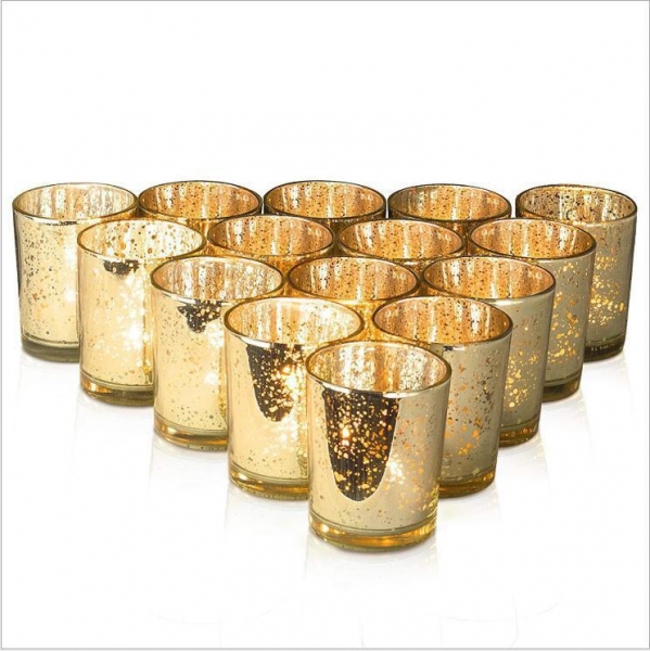China 7oz Mercury Glass Votive Tealight Candle Holders for Weddings, Parties and Home Decor