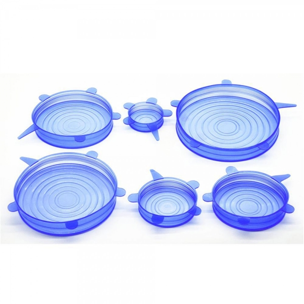 China SRK#500 Food grade 6 pack fresh-keeping Cover silicone stretch lids set