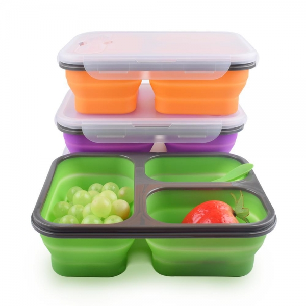 China SRK#300 Silicone integrated food container foldable 3 compartment lunch box