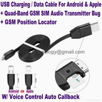 New 3-In-1 USB Data Cable+Hidden Spy GSM Remote Audio Listening Bug+GPS Locator