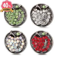 5pcs/lot Cute Apple Wholesale Snap Buttons With Rhinestones LSSN517