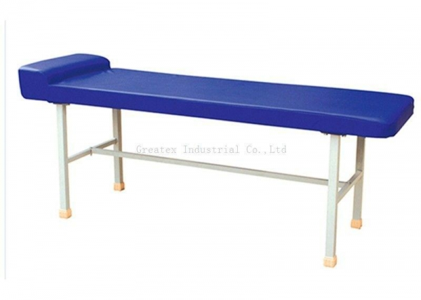 China Blue Medical Examination Couch , Simple Flat Exam Table With Pillow / Face Hole