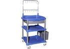 China Blue Color Medical Treatment Trolley 2 / 3 Layers With Adjustable IV Hookers