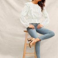 China White Ruffle Detail Embroidered Eyelet Peplum crop Tops on sale