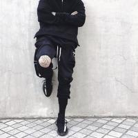 Buy cheap Custom Solid Color Black Mens French Terry Cotton Casual Blank Drawstring Tapered Jogger Pants from wholesalers
