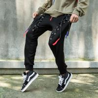 Buy cheap Custom Mens Casual High Quality Cotton Blank Black Regular Fit Jogger Pants With Binding Drawstring from wholesalers
