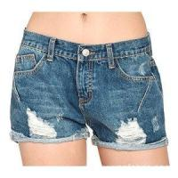 China Women Vintage Distressed Cotton Jeans Denim Shorts on sale