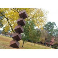 Quality Abstract Rusty Garden Sculptures , Square Sculpture With Corrosion Stability for sale