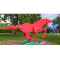Quality Modern Life Size Painted Metal Sculpture Running Horse Sculpture For Outdoor for sale