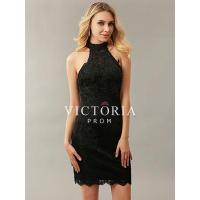 Quality Classic Black Lace Beaded Fitted Sheath Short Mini Sleeveless Halter Open Back Prom Dress for sale