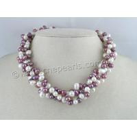 China TPN022 Three Twisted Strands 6-7mm White Mixing Purple Top-drilled Pearls Necklace on sale